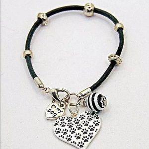 Jewelry - Paw Print Heart Charm Leather Bracelet Love My Dog